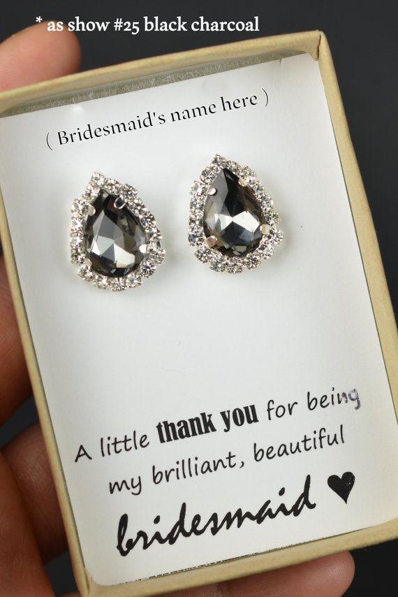 Charcoal Gray Drop Earrings Charcoal Gray by thefabbridaljewelry