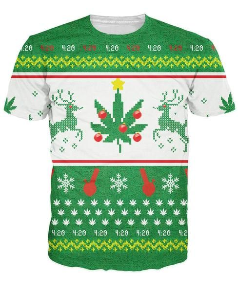 Weed Merry Christmas T-Shirt bongs and weed leaves