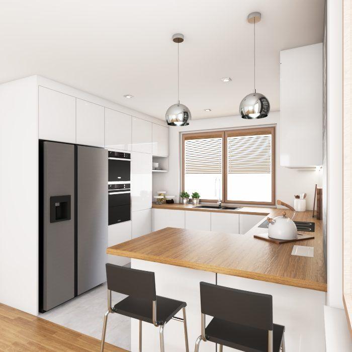 Biala Kuchnia Z Drewnianym Blatem Kitchen Design Small Interior Design Kitchen Small Kitchen Remodel Design