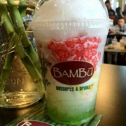 BAMBU Desserts & Drinks - Outer Richmond - San Francisco, CA, United States. #6 Che Trai Cay: Lychee, longan, red tapioca, jackfruit, palm seed, pandan jelly & coconut ($3.75). Add'l add-ins are free!