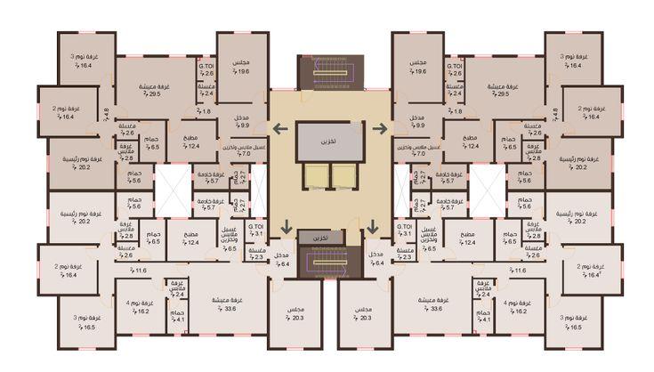 مخطط عمارة ٤ شقق دور اول مكونة من ٥ غرف Hospital Architecture Architecture Panel Architecture