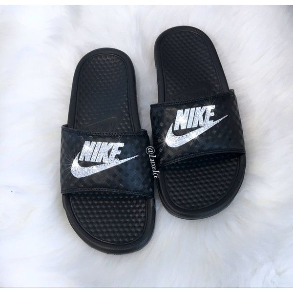 Nike Benassi Jdi Slides Flip Flops Customized With Swarovski Crystals. ($85) ❤ liked on Polyvore featuring shoes, sandals, flip flops, gold, women's shoes, black shoes, swarovski crystal sandals, sparkly sandals and black sparkly shoes