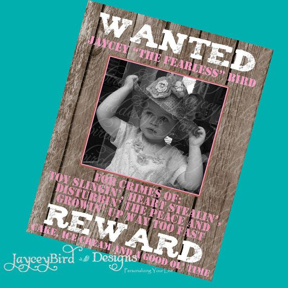 16x20 Personalized Western Wanted Poster by JayceyBirdDesigns