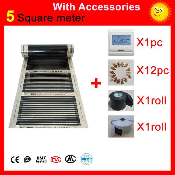5 mètres Carrés au sol électrique Chauffage film, AC220V infrarouge chauffe-50 cm x 10 m, maison chauffe-avec accessoires