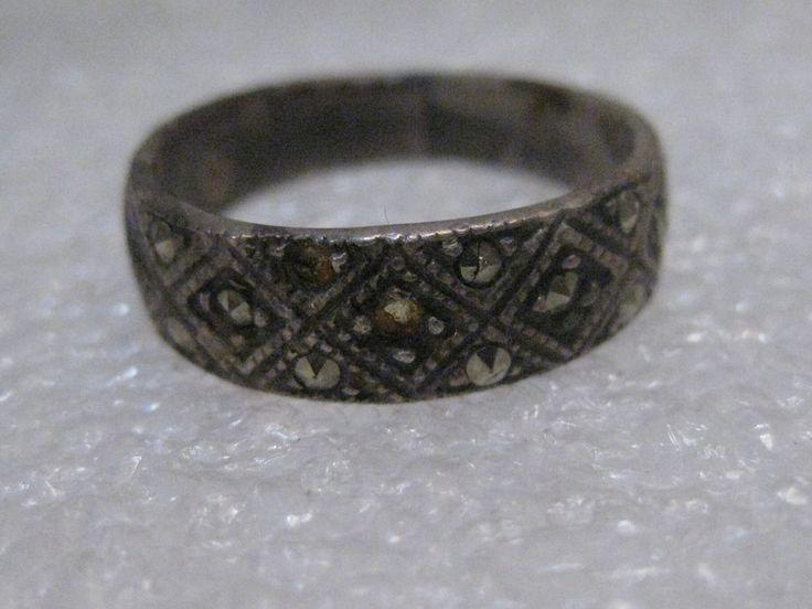 Vintage Sterling Silver Marcasite Band Ring, sz. 7, 6mm wide, 3.76 gr. #markedcantread #band