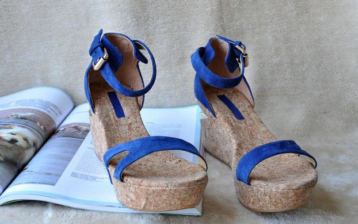 Цвет овчины заклинание сдоба склон с сандалии склоне с толстым дном лодки с браслетом и удобные сандалии - Taobao