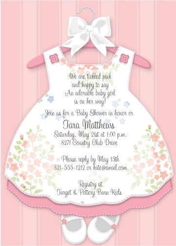 Baby Girl Dress shower invitation