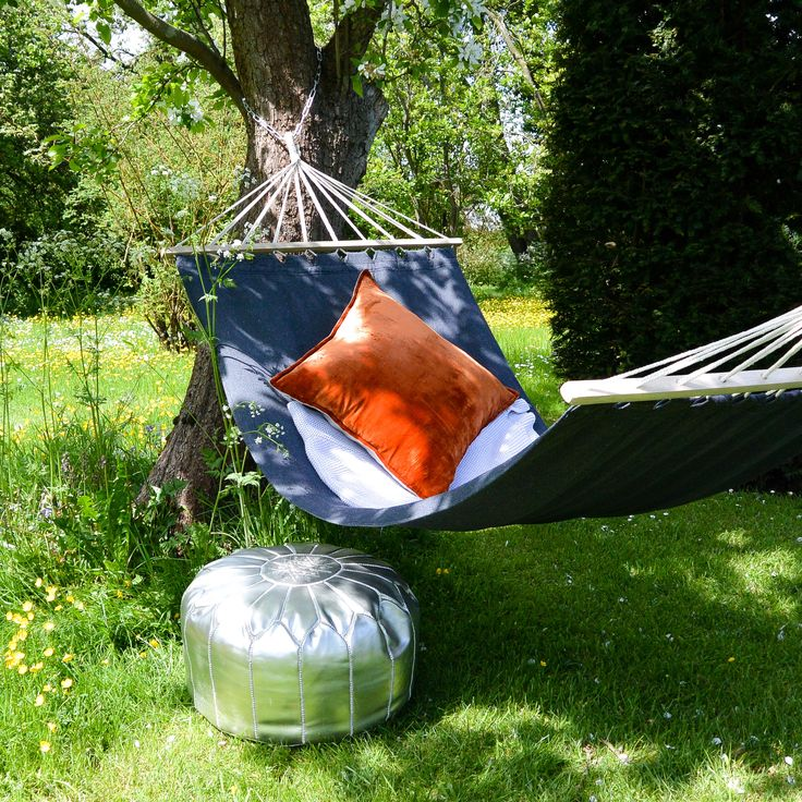 Our new charcoal hammock is perfect for adding an elegant touch to your garden this summer.  The dark charcoal colour looks great teamed with brightly coloured linen or velvet cushions and throws.The hammock has wooden spreader bars which make it easier to get in and out of and help it to dry faster after a rain shower.It has loops for hooking onto tree branches and can be extended with rope or hammock ties.