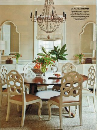 casual pretty neutral dining room reminds me of a titanic movie scene love the chandie