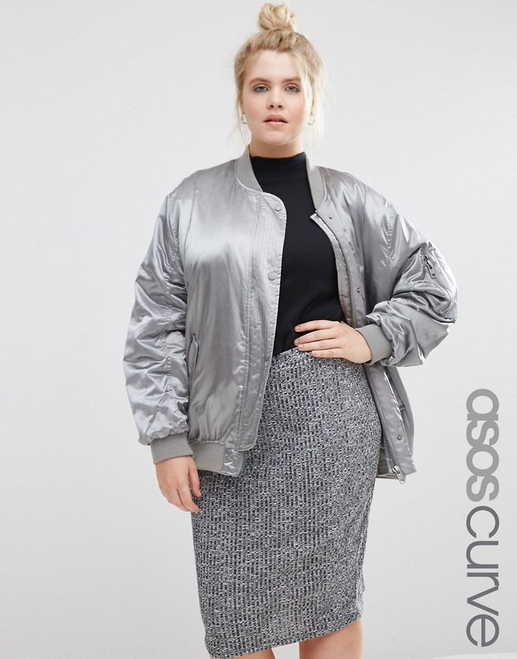 ASOS+CURVE+Luxe+Bomber+Jacket+In+Satin