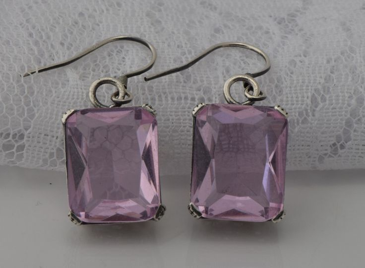 Delicate and beautiful girls 925 silver jewelry luxury series ancient silver pink topaz stone earrings