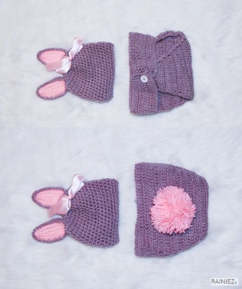 Cute Hand-Made Crochet Bunny Outfit - Perfect as a baby photography prop - Made with soft yarn - Great for new moms and perfect for a baby shower gift! www.rainiez.etsy.com