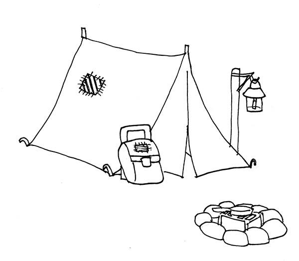 Camping Camping Tent And Campfire Coloring Page Camping Drawing Tent Drawing Camping Coloring Pages