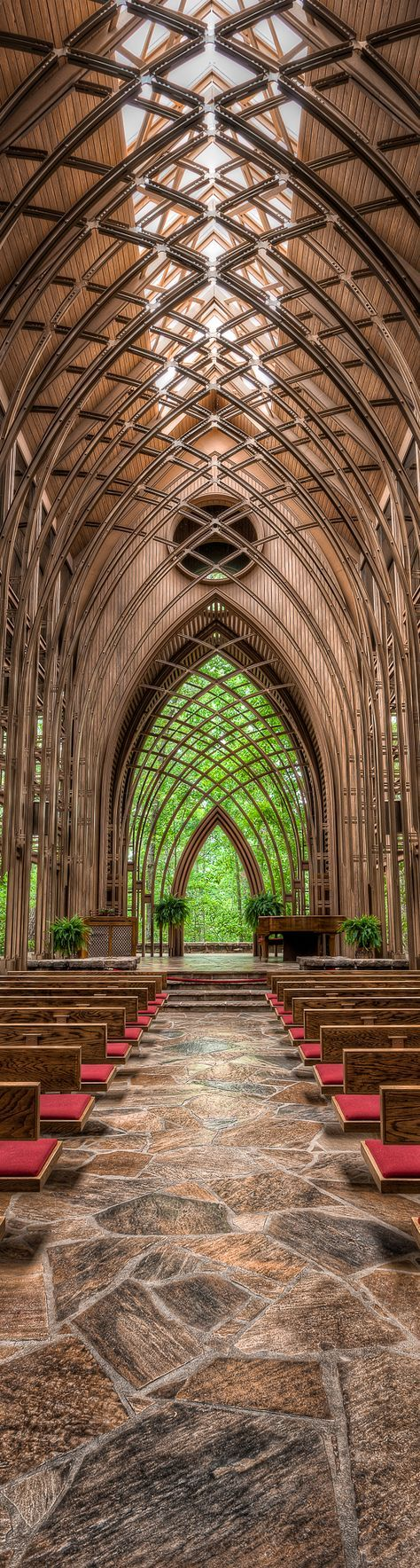 I took this photo one cloudy day in Bella Vista, AR Mildred B Cooper Memorial Chapel. This site was designed by E Fay Jones, an architect from Arkansas who was an apprentice of Frank Lloyd Wright. It has to be about the most perfect church for a small wedding anyone can imagine!
