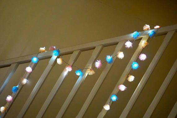 Yarn tassel garland; Fairy Lights ; string lights;LED Battery operated by Dress Me Floral
