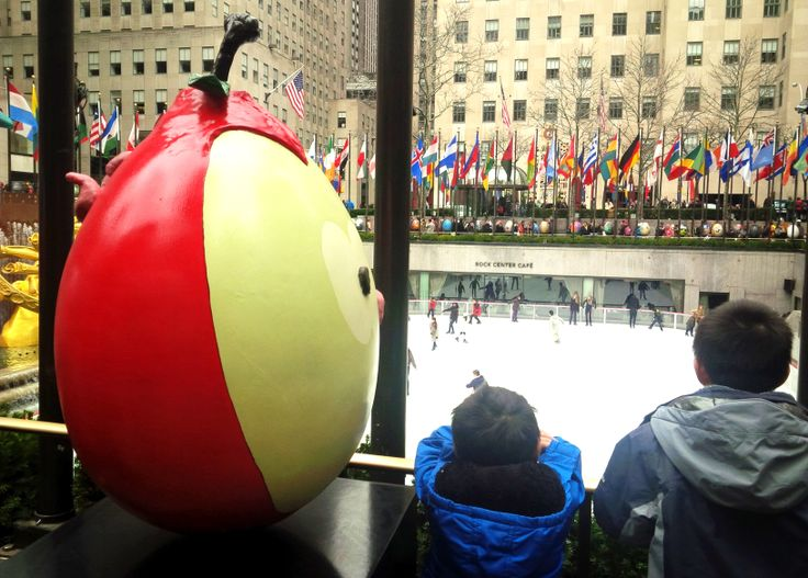Beautifully decorated sculptural eggs displayed on the perimeter of Rockefeller Center's famous ice skating rink for Easter April 2014, Photos:  Julie Farin