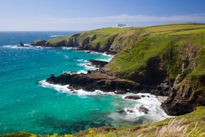 Housel Bay Cornwall England with Lizard Point in the background