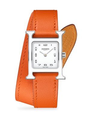 HERMÈS WATCHES Heure H Lacquer, Stainless Steel & Leather Double-Wrap Watch. #hermèswatches #