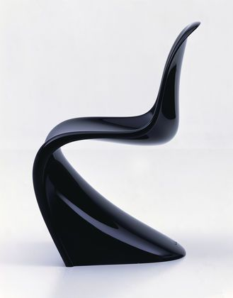 The Panton Classic is made of a rigid polyurethane foam with a glossy lacquer finish.