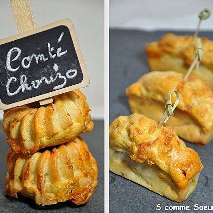 Mini Cakes Chorizo-Comté; will be turned into Aged Gouda and Chorizo muffins. New Year's Eve menu.