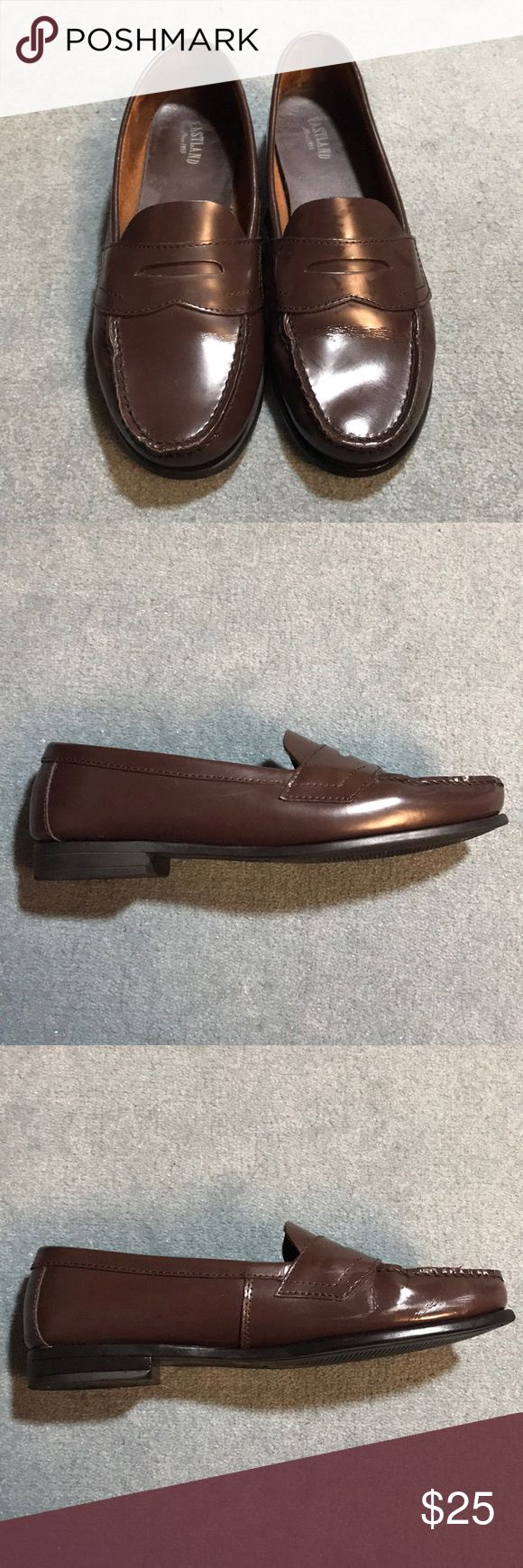 Eastland Classic II penny loafer Eastland Classic II penny loafer, burgundy leather upper, flexible rubber outside, 7/8 inch heel, medium width, pre-loved condition, some wear on heel pictured Eastland Shoes Flats & Loafers