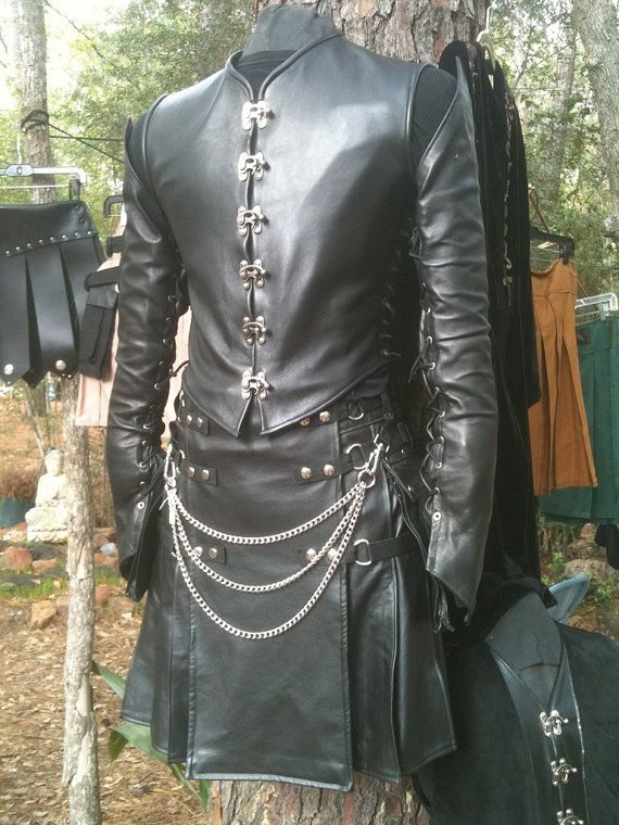 Black Leather Kilt with Kilt Chain and Leather Sleeves and Vest EXCLUSIVELY