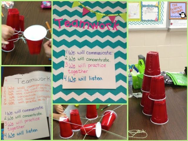 The Science Penguin: Teamwork Activity-- All you need are cups, rubber bands, string, and students!