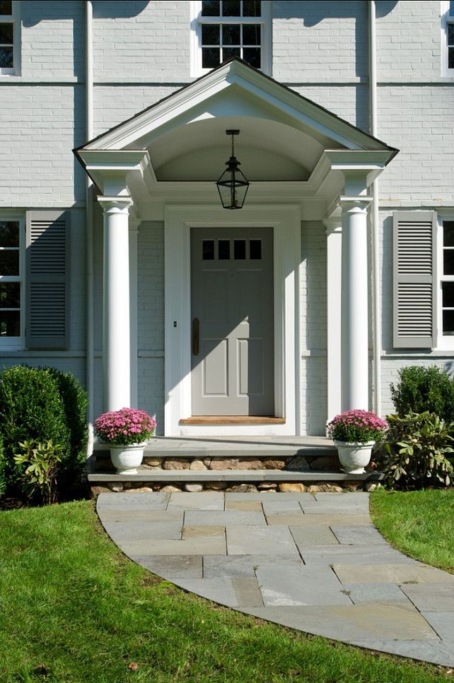 Traditional Colonial Home Decoration for Neutral and Calm Look: Classic Style Front Porch Integrated With Beautiful Flowers And Well Arrange...