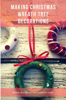 Tutorial for making Christmas wreath decorations that are a fantastic gift, they are simple enough for a child to make but are cheap and look really effective as a Christmas tree ornament/ decoration