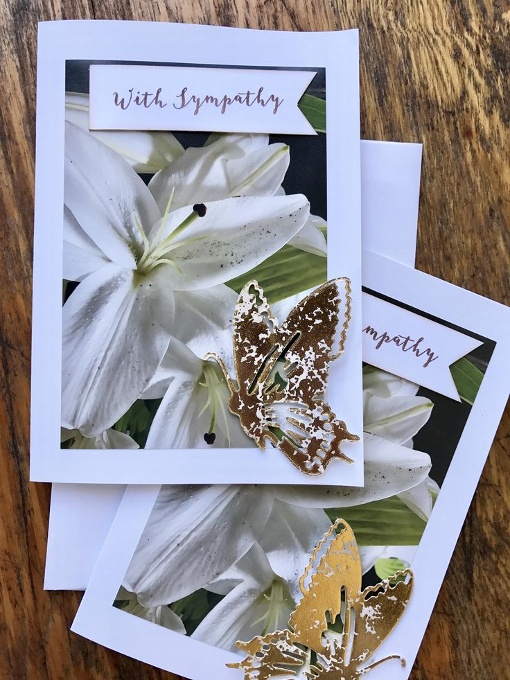White lily flower with metallic butterfly Sympathy Greeting Card by MoodMetals on Etsy