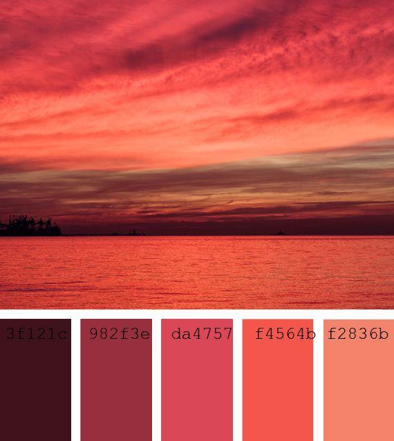 #Paleta de #color #rojo #carmesí #atardecer