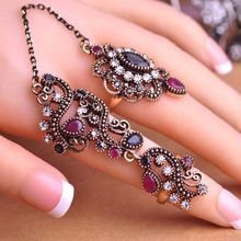 New Arrival Adjustable Turkish Two Finger Rings For Party Women Blue Acrylic Hollow Out Flower Design Vintage Ring Brand Anel(China (Mainland))