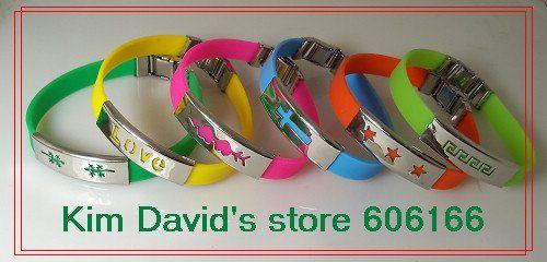 Wholesale 24pcs Mix Colour Silicone Bracelet Stainless Steel Buckle Bracelets Free Shipping