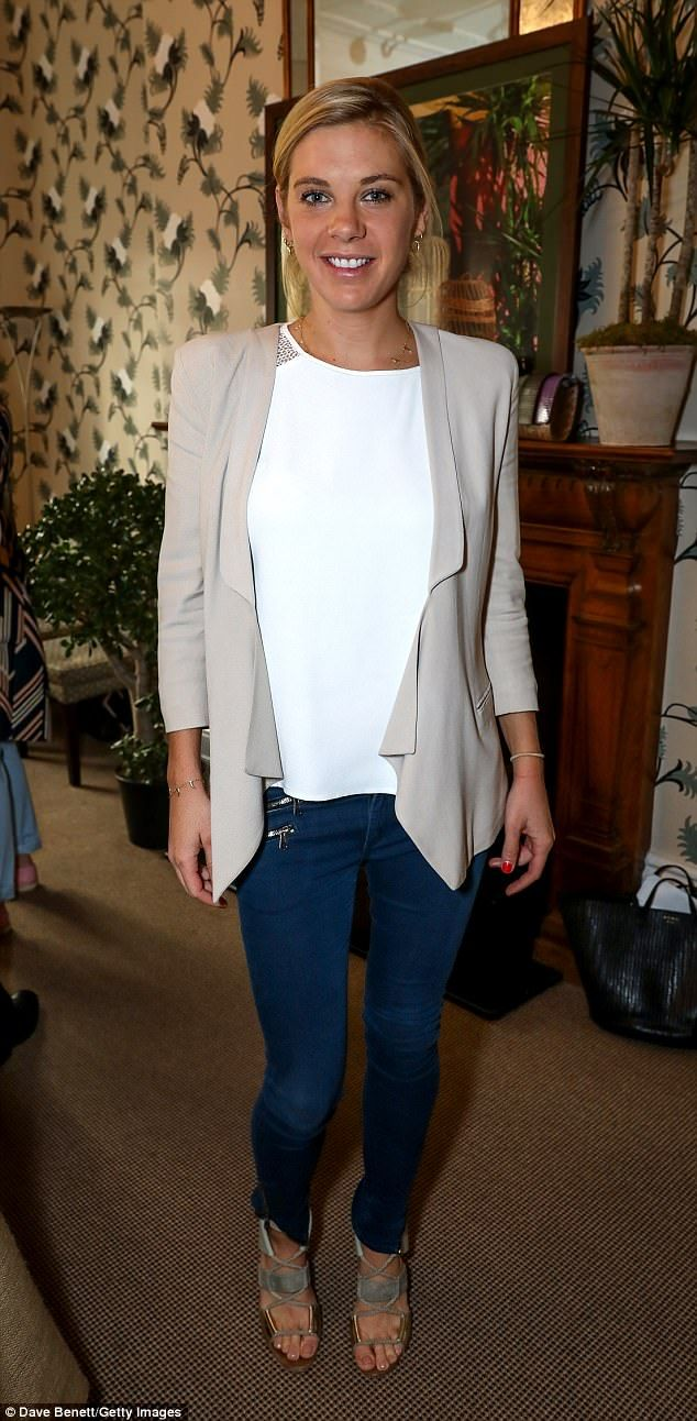 Chelsy Davy wore jeans, heels a white top and a flowing cream blazer to the Misela launch