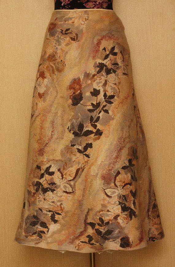 Leaves Fall / Felted Clothing / Skirt por LybaV en Etsy, $350.00