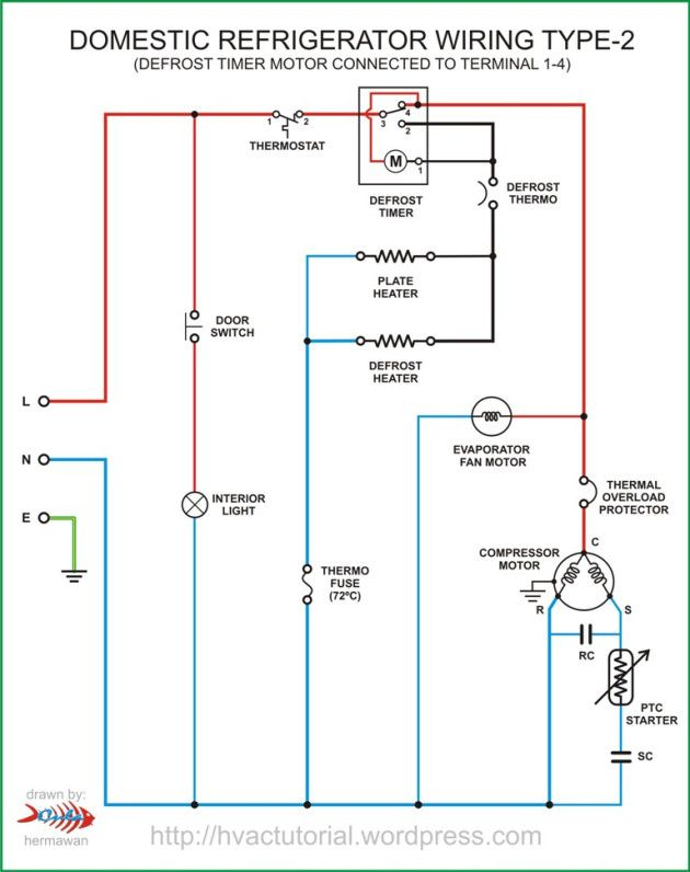refrigerator wiring type-2 | circuit diagram, electrical circuit diagram, electrical  wiring diagram  pinterest