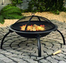 Large Fire Pit Steel Folding Outdoor Garden Patio Heater Grill Camping Bowl BBQ With Poker, Grate, Grill and Free Carry Bag by Home and Garden Products Ltd