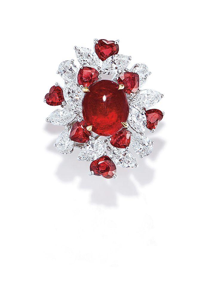 4.68 Carat Burmese Ruby and Diamond Ring BY FAIDEE