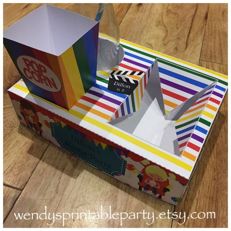Kids Movie Night Party Food Lunch Box with Hotdog Tray & Popcorn Box (Printable by you /DIY) - Dimensions/product details in description by WendysPrintableParty on Etsy