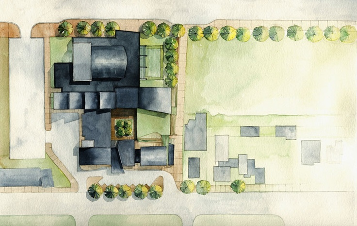 This Site Plan Uses Watercolours To Render The Floor Plan As Well As The Landscaping Of The Page Interior Architecture Drawing Site Plan Architecture Drawing