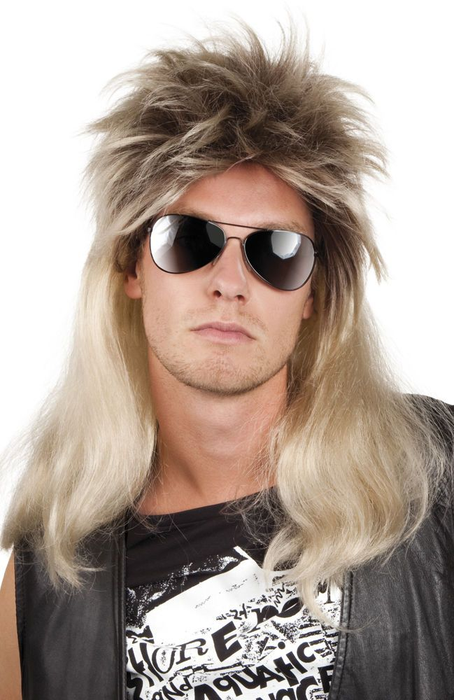 Mens 80s Rod Stewart Glam Rock Star Rocker Fancy Dress Costume Blonde Mullet Wig 80s Party Outfits Rocker Costume 80s Rocker Costume