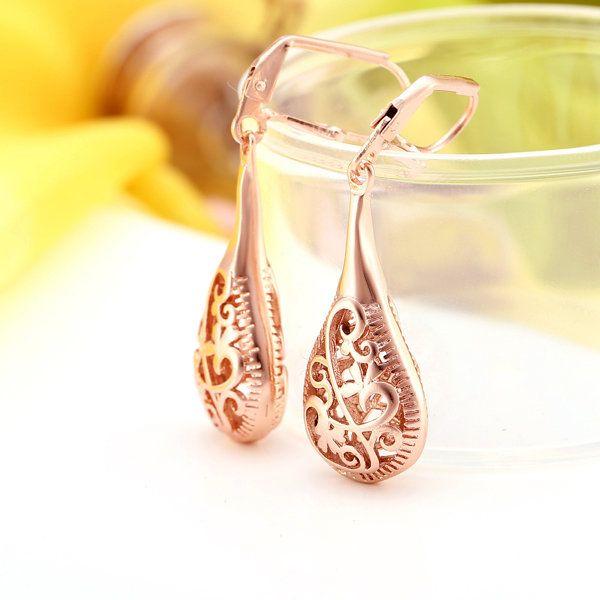 JASSY Luxury Earrings Rose Gold Flower Pattern Earrings