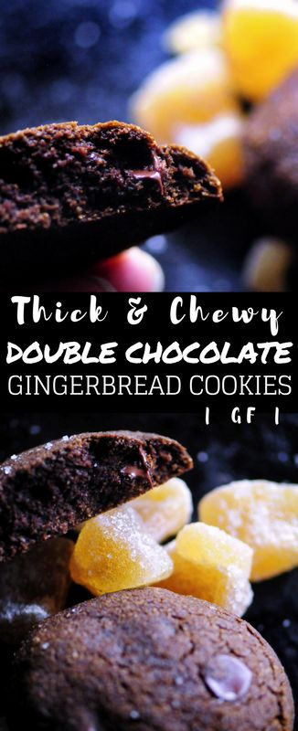 Thick & Chewy Double Chocolate Gingerbread Cookies (Gluten Free) #chocolate #gingerbread #cookies #glutenfree
