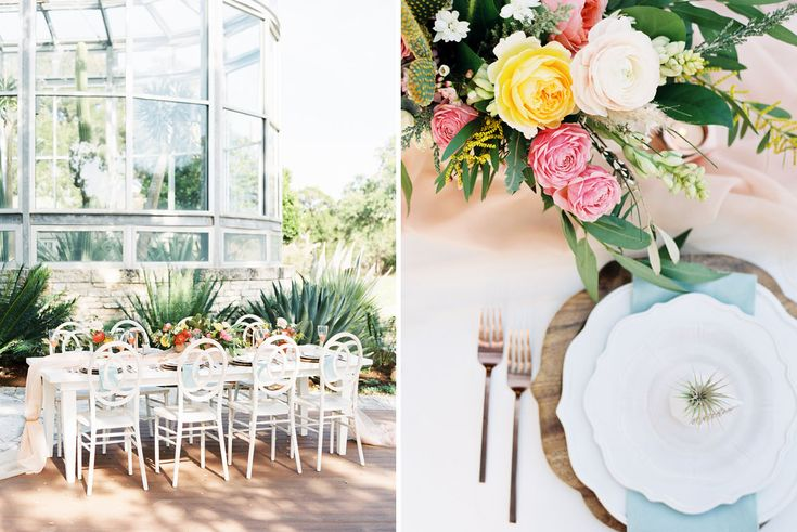 Southwestern Greenhouse Wedding Inspiration Spring dinner table. Highland Avenue Events