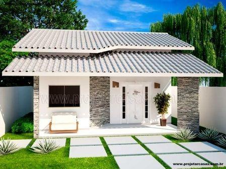 Projetar Casas   Planta de casa térrea com 2 quartos, varanda e coz americana - Cód 44