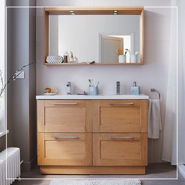 59 best salles de bains images by castorama france on pinterest salles de bains bois naturel - Meuble salle de bain double vasque castorama ...