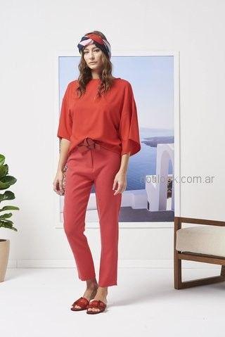 blusa y pantalon de vestir rojo Calandra primavera verano 2019 ... 8f62fdc16cdd