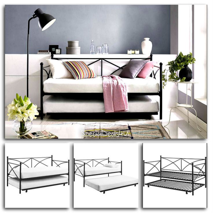 Daybed Trundle Set Metal Frame Black Twin Size Day Bed Contemporary Monaco New…