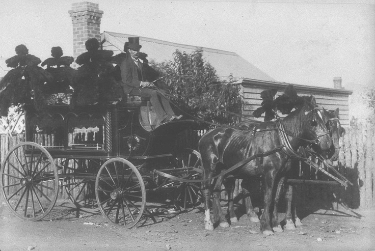 Horsedrawn hearse and undertaker - Cobar, NSW 1892