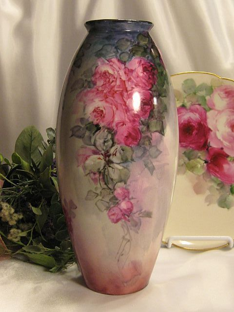 "Absolutely Exquisite Antique D&C Limoges France Hand Painted Vase 10 1/2"" Tall Superb Mastery Artistry Roses Vintage Victorian China Paintin..."